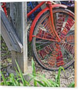 Red Hippie Bike Front Wheel Wood Print