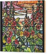 Stained Glass Tiffany Red Hollyhocks In Landscape In Watercolor Wood Print