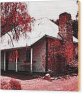 Red Homestead Garden Wood Print