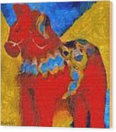 Red Horse Wood Print