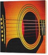 Red Hot Guitar Wood Print