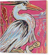Red Hot Heron Blues Wood Print
