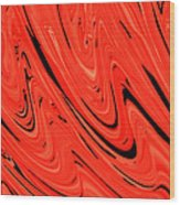 Red Hot Lava Flowing Down Wood Print