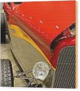 Street Car - Red Hot Rod Wood Print