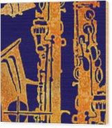 Red Hot Sax Keys Wood Print