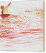 Red Hot Surfer Wood Print