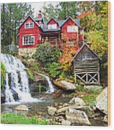 Red House By The Waterfall Wood Print