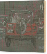 Red Jeep Wood Print