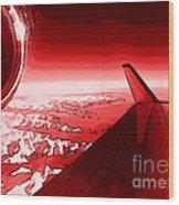 Red Jet Pop Art Plane Wood Print