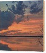 Red Lake Sky Wood Print