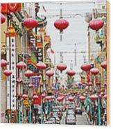 Red Lanterns Of Chinatown Wood Print