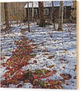 Red Leaves On Snow - Cabin In The Woods Wood Print