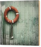 Red Life Saver Rescue Floatation Wood Print