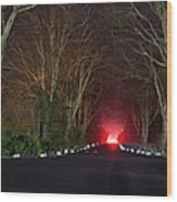 Red Light, Smoke And Flames Glowing Wood Print