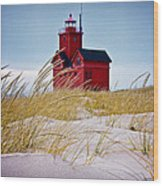 Red Lighthouse By Holland Michigan Known As Big Red Wood Print
