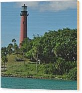 Red Lighthouse Wood Print