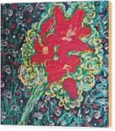 Red Lilies Wood Print