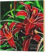Red Lilies Expressive Brushstrokes Wood Print