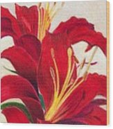 Red Lilies Wood Print