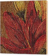 Red Lily Gold Leaf Wood Print