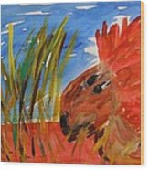 Red Lion In Tall Yellow Grass Wood Print