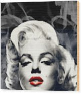 Red Lips Marilyn In Smoke Wood Print