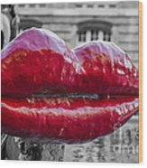 Red Lips Wood Print