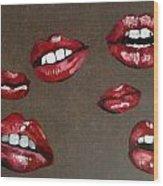 Red Lips Wood Print