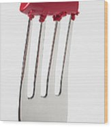 Red Lipstick On Fork Wood Print