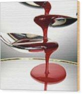 Red Liquid Fountain Wood Print