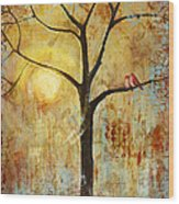 Red Love Birds In A Tree Wood Print