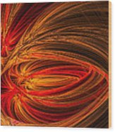 Red Luminescence-fractal Art Wood Print