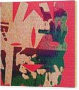 Red-mask Wood Print by Dorothy Rafferty