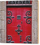 Red Medieval Door Wood Print