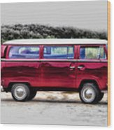 Red Microbus Wood Print
