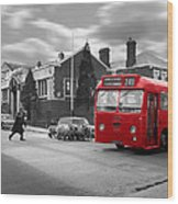 Red Midland Bus And Sheep - 1960's    Ref-126 Wood Print