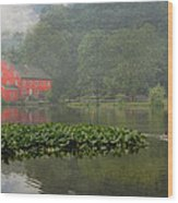 Red Mill Misty Morning Wood Print