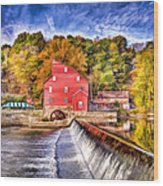 Red Mill Painted Wood Print