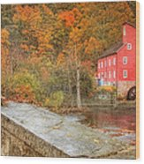 Red Mill With Texture Wood Print