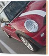 Red Mini-cooper Car On County Road Wood Print