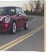 Red Mini-cooper Car On Road Wood Print