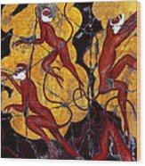Red Monkeys No. 3 - Study No. 1 Wood Print