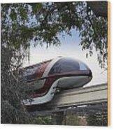 Red Monorail Disneyland 01 Wood Print