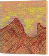 Red Mountain At Sunset Wood Print