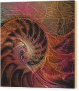 Red Nautilus Wood Print