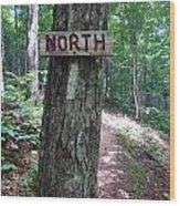 Red North Sign Wood Print