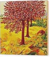 Red Oaks  Pop Art Wood Print