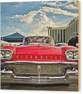 Red Oldsmobile  Wood Print by Merrick Imagery