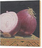 Red Onions On Chess Box Wood Print