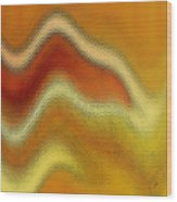 Red Orange And Yellow Glass Waves Wood Print